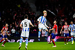 David Zurutuza Veillet of Real Sociedad (C) heads the ball during the La Liga 2018-19 match between Atletico de Madrid and Real Sociedad at Wanda Metropolitano on October 27 2018 in Madrid, Spain.  Photo by Diego Souto / Power Sport Images