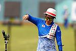 Tomomi Sugimoto (JPN), <br /> AUGUST 21, 2018 - Archery : <br /> Women's Recurve Individual Ranking Round <br /> at Gelora Bung Karno Archery Field <br /> during the 2018 Jakarta Palembang Asian Games <br /> in Jakarta, Indonesia. <br /> (Photo by Naoki Morita/AFLO SPORT)