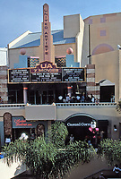 Horton Plaza, San Diego. Architect Jon Jerde. Opened in 1985. United Artists offered 7 movies in small theatres. Photo Jan. 1987.