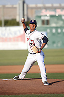 Elieser Hernandez (29) of the Lancaster JetHawks pitches against the Stockton Ports at The Hanger on May 26, 2016 in Lancaster, California. Stockton defeated Lancaster, 16-7. (Larry Goren/Four Seam Images)