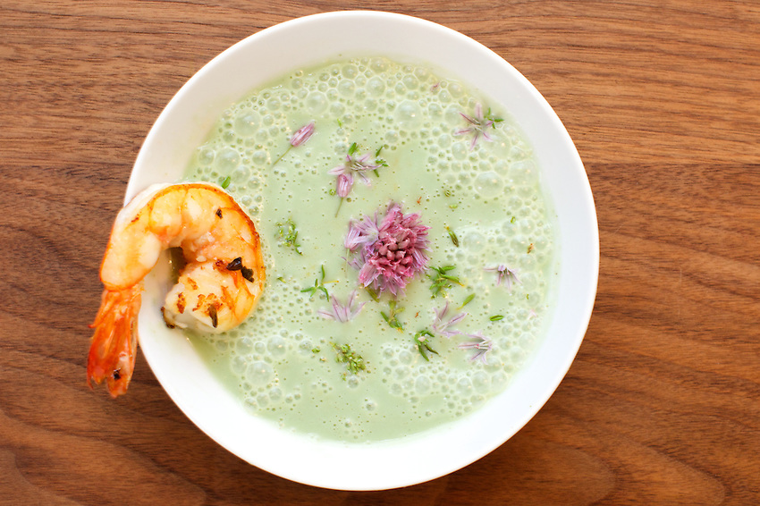 BROOKLYN, NY - June 13, 2014: Spring Garlic Soup at FEAST, a supper club in Bushwick. CREDIT: Clay Williams for FEAST.