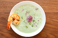 BROOKLYN, NY - June 13, 2014: Spring Garlic Soup at FEAST, a supper club in Bushwick. CREDIT: Clay Williams for FEAST.
