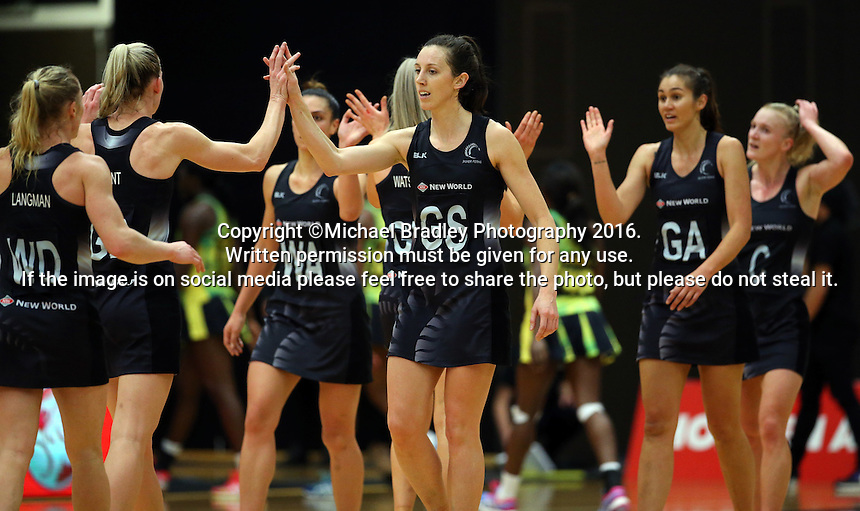 17.09.2016 Silver Ferns Bailey Mes in action during the Taini Jamison netball match between the Silver Ferns and Jamaica played at the Energy Events Centre in Rotorua. Mandatory Photo Credit ©Michael Bradley.