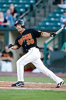 June 21, 2009:  Pinch Hitter Alejandro Machado of the Rochester Red Wings at bat during a game at Frontier Field in Rochester, NY.  The Rochester Red Wings are the International League Triple-A affiliate of the Minnesota Twins.  Photo by:  Mike Janes/Four Seam Images