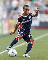 New England Revolution substitute forward Fernando Cardenas (80) dribbles. In a Major League Soccer (MLS) match, Toronto FC defeated New England Revolution, 1-0, at Gillette Stadium on July 14, 2012.