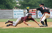 Kutztown Rockies catcher Abram Yeakel from Liberty University, is out by Quakertown's first baseman Mark Angelo of Bucknell University, after Yeakel's long lead off at first base during the Atlantic Collegiate Baseball League on Tuesday July 4, 2006 at Quakertown Memorial Park in Quakertown, Pa. (Jane Therese/Special to The Morning Call).
