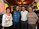 Proprietor Austin Walsh and his parents Tommy and Breda pictured with Fifth overall and a stage winner in the Vuelta a Espana (Tour of Spain) Nicolas Roche when he paid a visit to Quay Cycles Drogheda. Photo:Colin Bell/pressphotos.ie