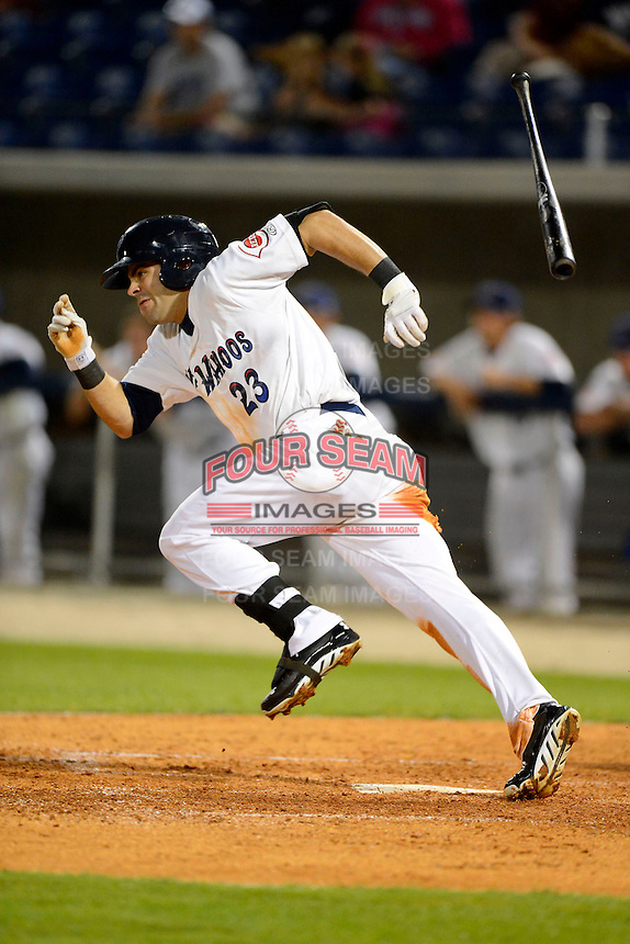 Pensacola Blue Wahoos outfielder Ryan LaMarre #23 during a game against the Jacksonville Suns on April 15, 2013 at Pensacola Bayfront Stadium in Pensacola, Florida.  Jacksonville defeated Pensacola 1-0 in 11 innings.  (Mike Janes/Four Seam Images)
