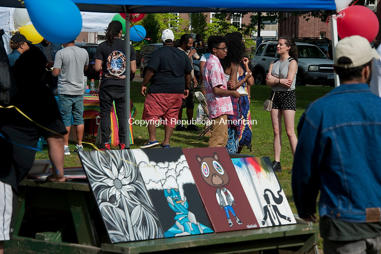WATERBURY, CT--060615JS03-   Art and friendship was the theme of the day during the first Leaders of Youth festival held Saturday at Library Park in Waterbury. Organizer Jaron Riddick said he wants the event to promote artistic awareness in the Waterbury community. <br /> Jim Shannon Republican-American