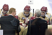 Greg Brown (BC - Assistant Coach), Quinn Smith (BC - 27), Jerry York (BC - Head Coach), Michael Sit (BC - 18) - The Boston College Eagles defeated the University of Minnesota Golden Gophers 6-1 in their 2012 Frozen Four semi-final on Thursday, April 5, 2012, at the Tampa Bay Times Forum in Tampa, Florida.