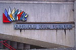 ATBK77 National Film Theatre logo and sign on concrete wall London England
