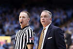 CHAPEL HILL, NC - DECEMBER 20: Wofford head coach Mike Young and referee Mike Eades. The University of North Carolina Tar Heels hosted the Wofford College Terriers on December 20, 2017 at Dean E. Smith Center in Chapel Hill, NC in a Division I men's college basketball game. Wofford won the game, upsetting UNC, 79-75.