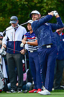 Ryan Moore (USA) watches his tee shot on 11 during the practice round at the Ryder Cup, Hazeltine National Golf Club, Chaska, Minnesota, USA.  9/29/2016<br /> Picture: Golffile | Ken Murray<br /> <br /> <br /> All photo usage must carry mandatory copyright credit (&copy; Golffile | Ken Murray)