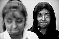 Urooj Akbar,29 (L) & Saira Liaqat,27 (R).Posing for a photograph at the Depilex salon where they now works as beauticians.