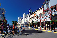 Mackinac Island, MI, Lake Huron, Michigan, Main Street downtown Mackinac Island on Lake Huron.