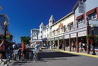 Mackinac Island, MI, Lake Huron, Michigan, Main Street downtown Mackinac Island on Lake Huron.