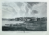 View of the North West part of Quebec City, seen from the St Charles River, engraving by P Benazech after a drawing by Richard Short, published in 1761 as a collection of Views of Quebec in the 18th century, by Thomas Jefferys in London, in the collection of the Archives of the Seminaire de Quebec, Quebec City, Quebec, Canada. Picture by Manuel Cohen
