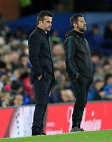29th October 2019; Goodison Park, Liverpool, Merseyside, England; English Football League Cup, Carabao Cup Football, Everton versus Watford; Everton Manager Marco Silva looks on from the touchline  - Strictly Editorial Use Only. No use with unauthorized audio, video, data, fixture lists, club/league logos or 'live' services. Online in-match use limited to 120 images, no video emulation. No use in betting, games or single club/league/player publications