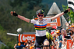World Champion Anna van der Breggen (NED) Boels Dolmans Cyclingteam wins her 5th consecutive edition atop Mur de Huy at the end of La Fl&egrave;che Wallonne Femmes 2019, running 118.5km from Huy to Huy, Belgium. 24th April 2019<br /> Picture: Thomas Van Bracht/PelotonPhotos | Cyclefile<br /> All photos usage must carry mandatory copyright credit (&copy; Cyclefile | Thomas Van Bracht/PelotonPhotos)