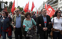 Pictured: Dimitris Stratoulis (2nd L) and Panayiotis Lafazanis (4th L) of Laiki Enotita party join other left wing party supporters Sunday 08 May 2016<br /> Re: Members of left wing parties gather outside the Greek Parliament, while MPs vote on pension and welfare reforms, Athens, Greece