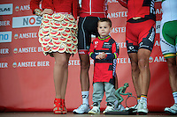 Philippe Gilbert junior (Allan) on stage with daddy & co<br /> <br /> Amstel Gold Race 2014