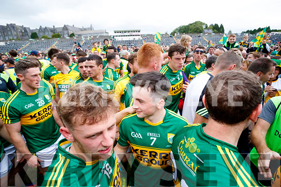 Kerry Players after their victory over Cork in the Munster Senior Football Final at Fitzgerald Stadium on Sunday.