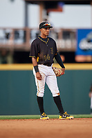 Bradenton Marauders shortstop Adrian Valerio (14) during a game against the Dunedin Blue Jays on May 2, 2018 at LECOM Park in Bradenton, Florida.  Bradenton defeated Dunedin 6-3.  (Mike Janes/Four Seam Images)