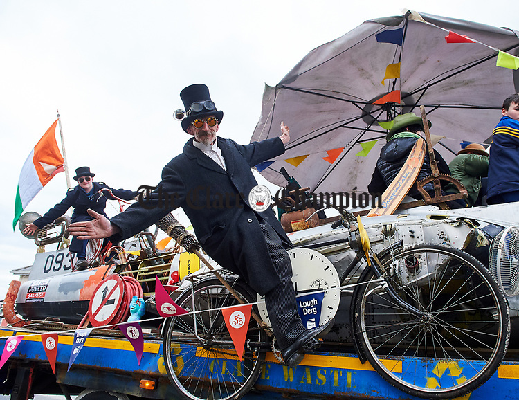 Mark Wilson on the Clare Waste float at the St Patrick's Day parade in Scariff. Photograph by John Kelly.
