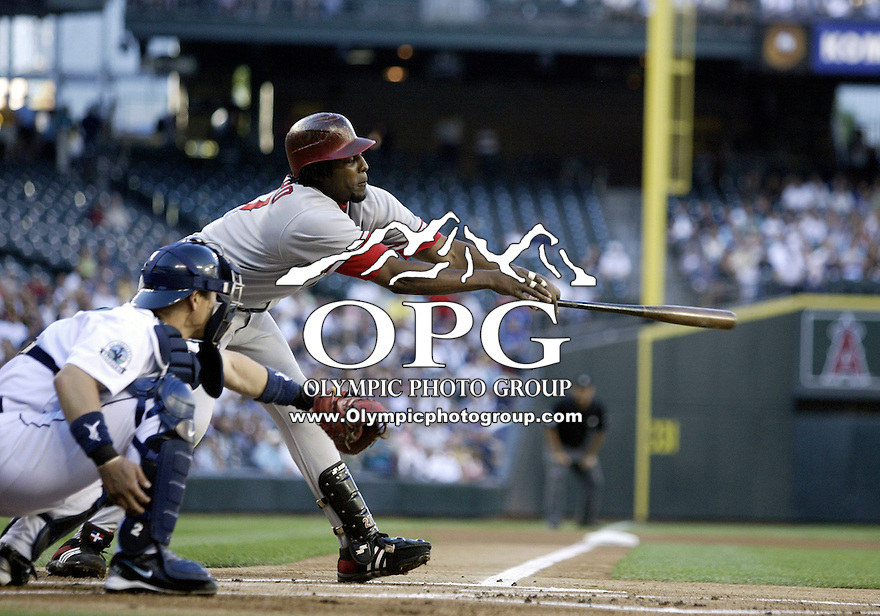 01 August 2007:   Vladimir Guerrero strikes out reaching against Felix Hernandez at Safeco Field against the Seattle Mariners. Seattle won 8-7 in 12 innings.