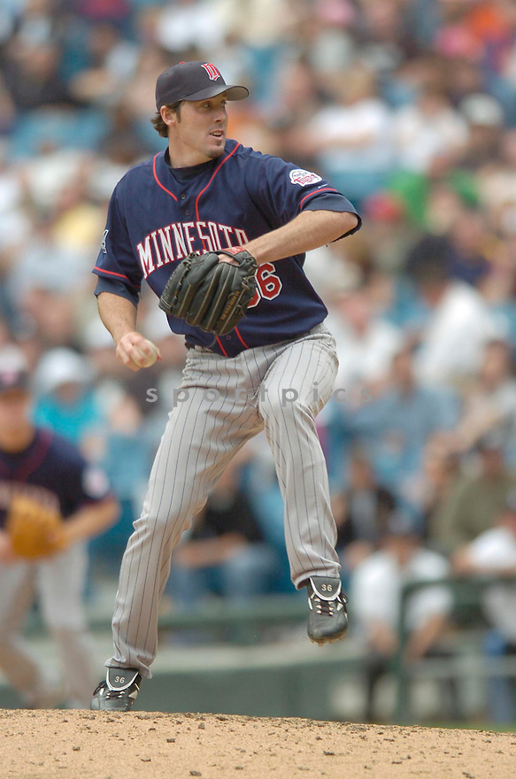Joe Nathan, of the Minnesota Twins, during their game against the Chicago White Sox on April 23, 2006 in Chicago...Sox  win 7-3..David Durochik / SportPics