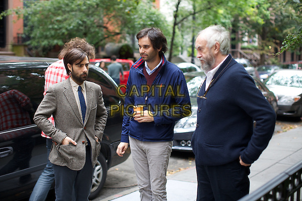 Jason Schwartzman, Alex Ross Perry (Director), Jonathan Pryce<br /> on the set of Listen Up Philip (2014) <br /> *Filmstill - Editorial Use Only*<br /> CAP/NFS<br /> Image supplied by Capital Pictures