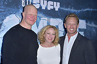 Derek Mears, Virginia Madsen und Ian Ziering at the premiere of SyFy TV-Film Zombie Tidal Wave at the Garland Hotel in Los Angeles, California August 12, 2019. Credit: Action Press/MediaPunch ***FOR USA ONLY***