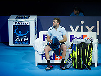Jack Sock of USA (8) in action during his defeat by Roger Federer of Switzerland (2) in their Group Boris Becker match today - Federer def Sock 6-4, 7-6<br /> <br /> Photographer Ashley Western/CameraSport<br /> <br /> International Tennis - Barclays ATP World Tour Finals - O2 Arena - London - Day 1 - Sunday 12th November 2017<br /> <br /> World Copyright &not;&copy; 2017 CameraSport. All rights reserved. 43 Linden Ave. Countesthorpe. Leicester. England. LE8 5PG - Tel: +44 (0) 116 277 4147 - admin@camerasport.com - www.camerasport.com