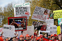 Fans wave signs during the taping of ESPN's College GameDay broadcast from the campus of Ohio State prior to the NCAA football game against the Michigan State Spartans in Columbus on Nov. 21, 2015. (Adam Cairns / The Columbus Dispatch)