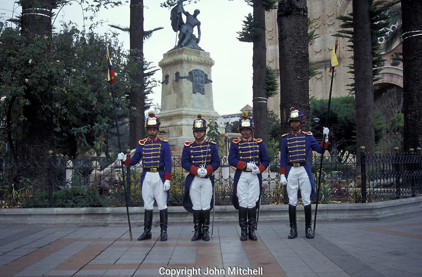 Soldiers dressed in parade uniforms in Parque Calderon, the mainn square of Cuenca, Ecuador