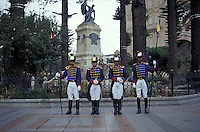 Soldiers dressed in parade uniforms in Parque Calderon, the mainn square of Cuenca, Ecuador