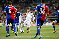 Luka Modrid of Real Madrid and Samuel and Xhaka of FC Basel 1893 during the Champions League group B soccer match between Real Madrid and FC Basel 1893 at Santiago Bernabeu Stadium in Madrid, Spain. September 16, 2014. (ALTERPHOTOS/Caro Marin) /NortePhoto.com