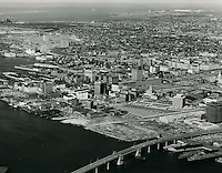 1964 January 21..Redevelopment.Downtown South (R-9)..Looking Northwest at Downtown from over Berkley..Abourjilie.NEG#.NRHA# 1084..