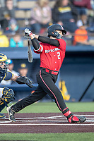 Rutgers Scarlet Knights shortstop Kevin Welsh (2) follows through on his swing against the Michigan Wolverines on April 26, 2019 in the NCAA baseball game at Ray Fisher Stadium in Ann Arbor, Michigan. Michigan defeated Rutgers 8-3. (Andrew Woolley/Four Seam Images)