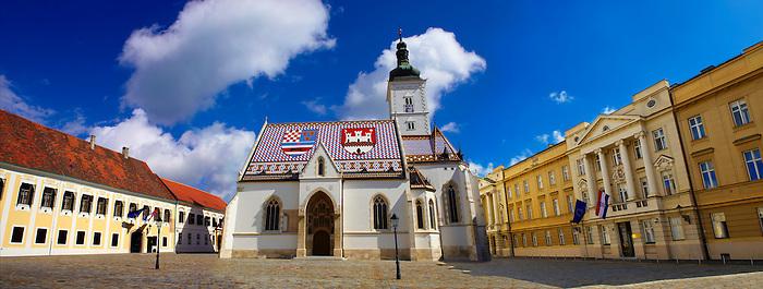 Late Gothic church of St. Mark's Church (Crkva sv. Marka) , with Croatian Parliamnet [ right ]Zagreb, Croatia
