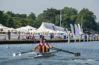 """Henley on Thames, United Kingdom, 3rd July 2018, Friday,  """"Henley Royal Regatta"""", ROU M2X, heat of Double Sculls Challenge Cup,  View, Henley Reach, River Thames, Thames Valley, England, UK."""