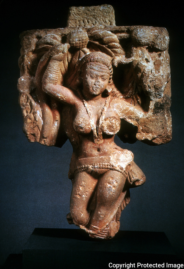 """India:  One of two """"Tree Dryads"""" from the Great Buddhist Stupa at Sanchi, Madhya Pradest."""
