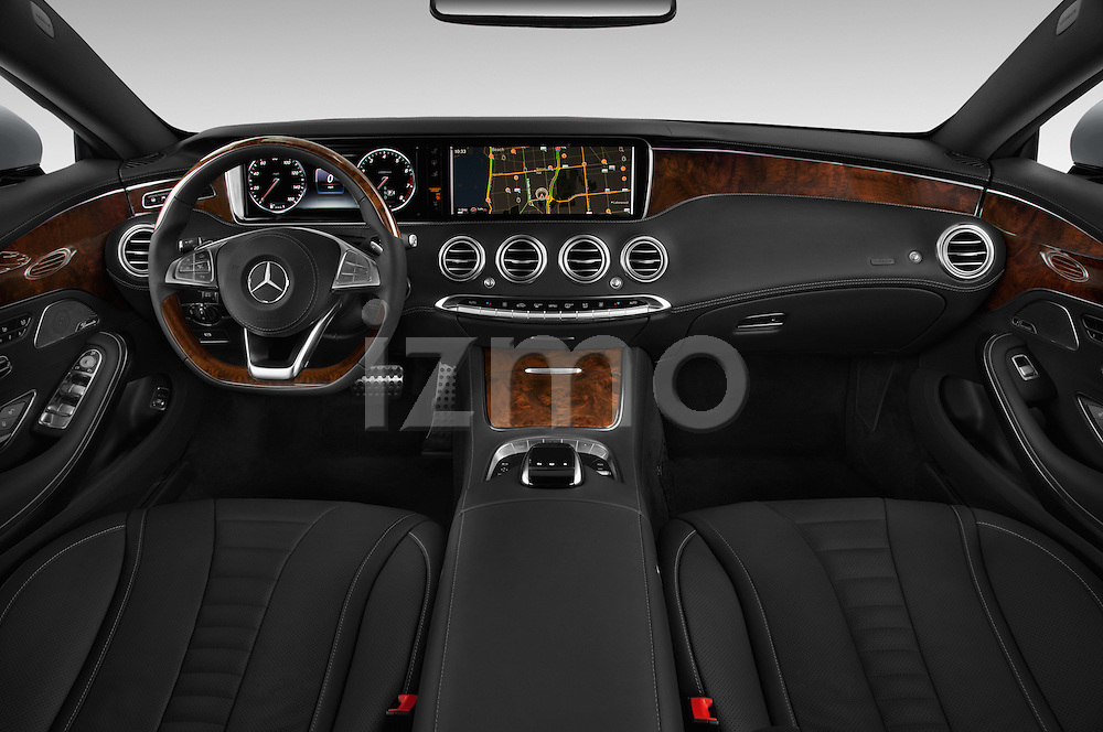 Stock photo of straight dashboard view of a 2015 Mercedes Benz S-Class S550 2 Door Coupe Dashboard