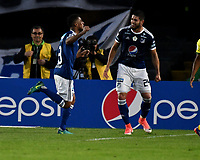BOGOTA - COLOMBIA - 01 – 04 - 2018: Cesar Carrillo, jugador de Millonarios, celebra después de anotar el segundo gol de su equipo, durante partido de la fecha 12 entre Millonarios y Atletico Bucaramanga, por la Liga Aguila I 2018, jugado en el estadio Nemesio Camacho El Campin de la ciudad de Bogota. / Cesar Carrillo, player of Millonarios celebrates after scoring the second goal of his team, during a match of the 12th date between Millonarios and Atletico Bucaramanga,  for the Liga Aguila I 2018 played at the Nemesio Camacho El Campin Stadium in Bogota city, Photo: VizzorImage / Luis Ramirez / Staff.