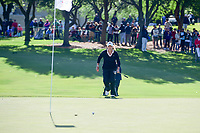 Cristie Kerr (USA) sprints onto 18 to quickly mark her ball before high winds could move it after her putt onto the green during round 4 of  the Volunteers of America Texas Shootout Presented by JTBC, at the Las Colinas Country Club in Irving, Texas, USA. 4/30/2017.<br /> Picture: Golffile | Ken Murray<br /> <br /> <br /> All photo usage must carry mandatory copyright credit (&copy; Golffile | Ken Murray)