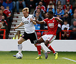 Mark Duffy of Sheffield Utd and Tendayi Darikwa of Nottingham Forest during the Championship match at the City Ground Stadium, Nottingham. Picture date 30th September 2017. Picture credit should read: Simon Bellis/Sportimage