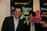 John Tartaglia & Dorsel & Linda Dano & Bubbles at the opening night of John Tartaglia's Imaginocean, a new family undersea musical adventure on March 31, 2010 at New World Stages, New York City, New York. John Tartaglia's ImaginOcean is an interactive family show - a magical, musical undersea adventure for kids of all ages. Tank, Bubbles, and Dorsel are three best friends who just happen to be fish, and they're about to set out on a remarkable journey of discovery. And it all starts with a treasure map. As they swim off in search of clues, they'll sing, they'll dance, and they'll make new friends -- including everyone in the audience. Ultimately, they discover the greatest treasure of all -- friendship. Jam-packed with original music ranging from swing to R&B to Big Band, John Tartaglia's ImaginOcean is a blast rom the first big splash to the last wave goodbye. (Photo by Sue Coflin/Max Photos)