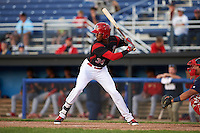 Batavia Muckdogs shortstop Garvis Lara (34) at bat during a game against the State College Spikes on June 23, 2016 at Dwyer Stadium in Batavia, New York.  State College defeated Batavia 8-4.  (Mike Janes/Four Seam Images)