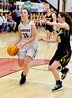 Westside Eagle Observer/RANDY MOLL Gentry senior Ahrya Reding drives past a Prairie Grove defender on her way to the basket on Friday night at the Gentry High School.