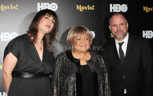 NEW YORK, NY - FEBRUARY 24:  Director Jessica Edwards, producer Gary Hustwit and along with Mavis Staples at the New York premiere of HBO Documentary Films' 'Mavis!', the documentary about Rock and Roll Hall of Famer and 2016 Grammy winner Mavis Staples in New York, New York on February 24, 2016.  Photo Credit: Rainmaker Photo/MediaPunch